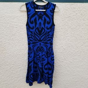 Torn by Ronny Kobo blue and black abstract dress